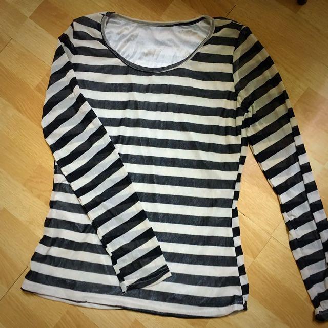 🆕免運🆕絲質黑白條紋上衣