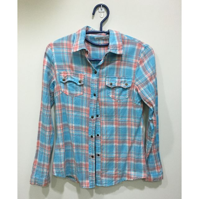 (二手) 水藍彩色線條銅釦襯衫上衣
