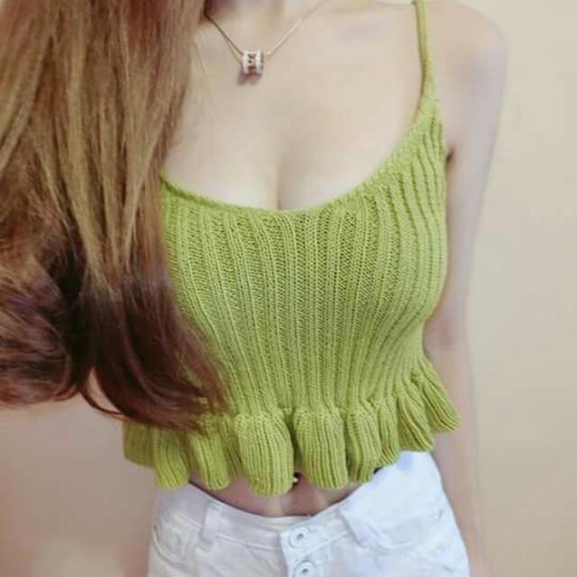 芥末綠百搭針織背心