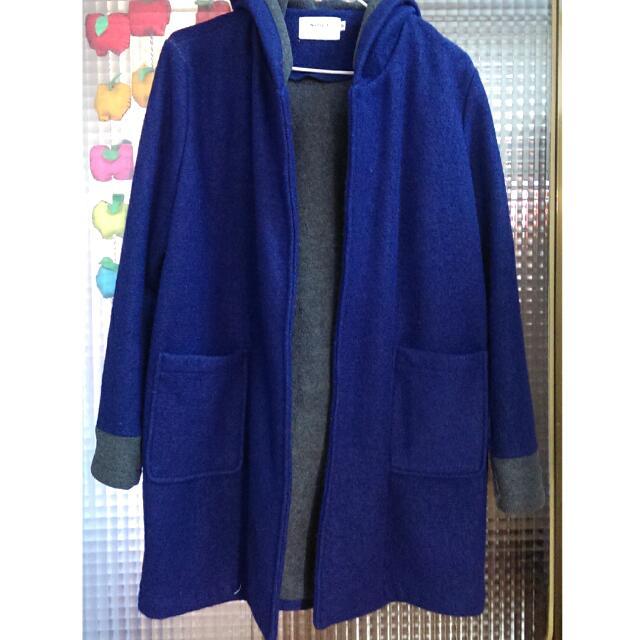 寶藍毛呢長版大衣【附帽子】