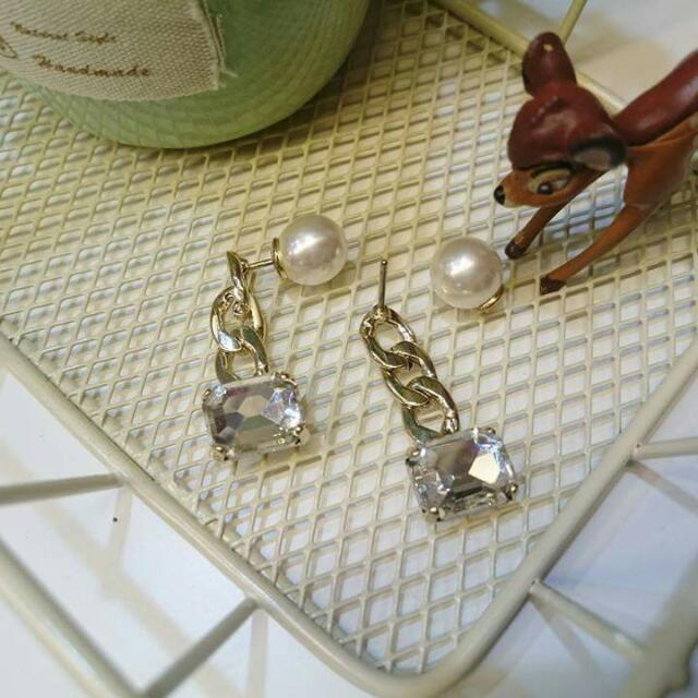 韓*珍珠前後扣鋯石捶墬式耳環