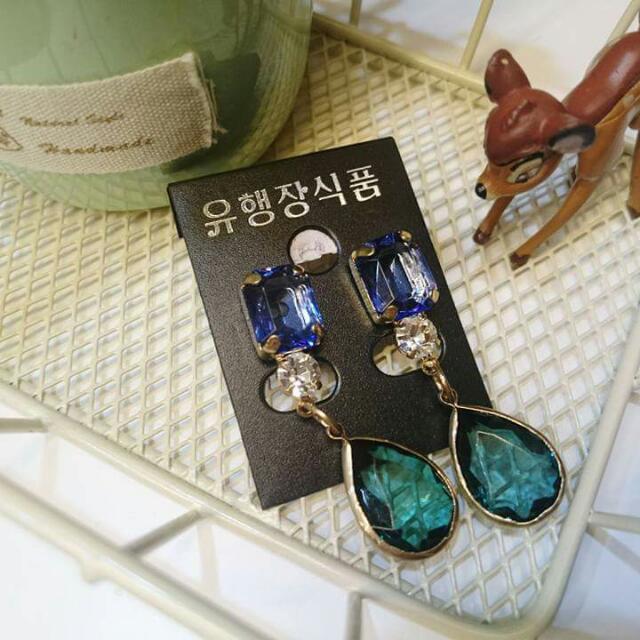 韓*藍綠寶石垂墬式耳環