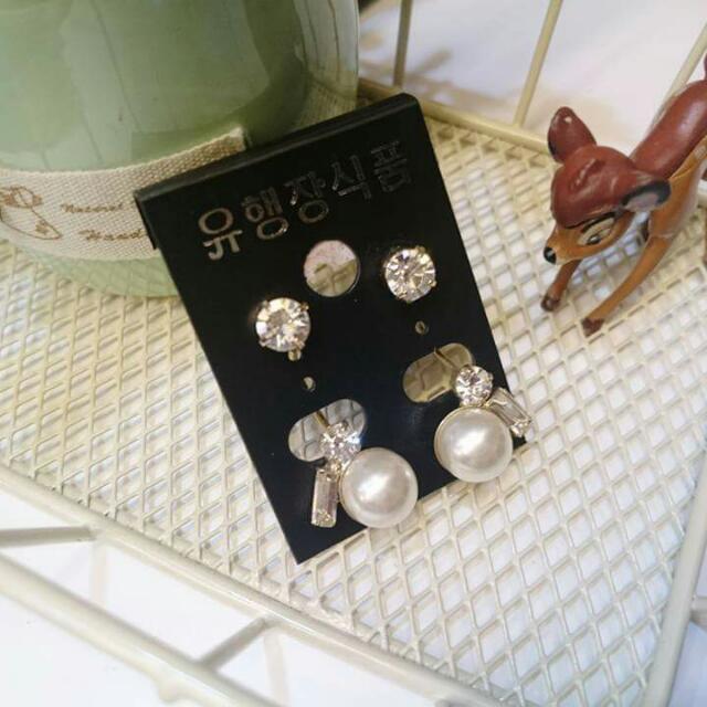 韓*珍珠水鑽前後扣耳環
