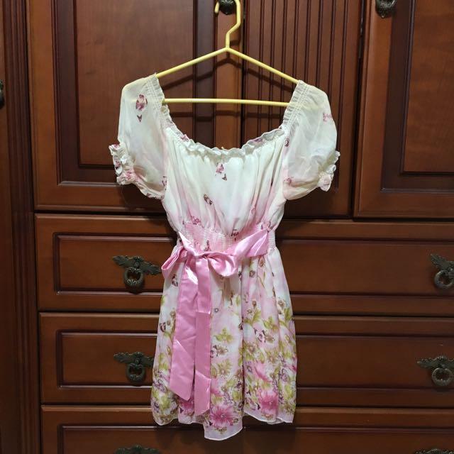 甜美粉彩緞帶洋裝