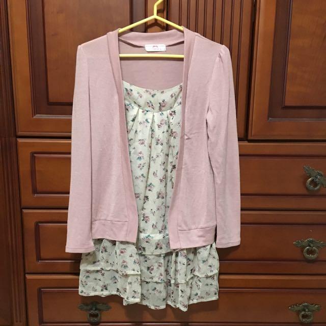 粉紅假兩件針織碎花洋裝