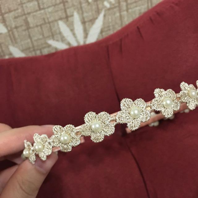花朵立體珍珠髮箍