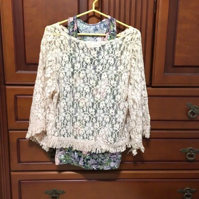 花朵棉麻紗網狀罩衫
