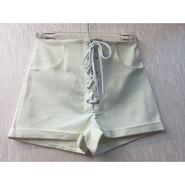 正韓 高腰綁帶白色短褲