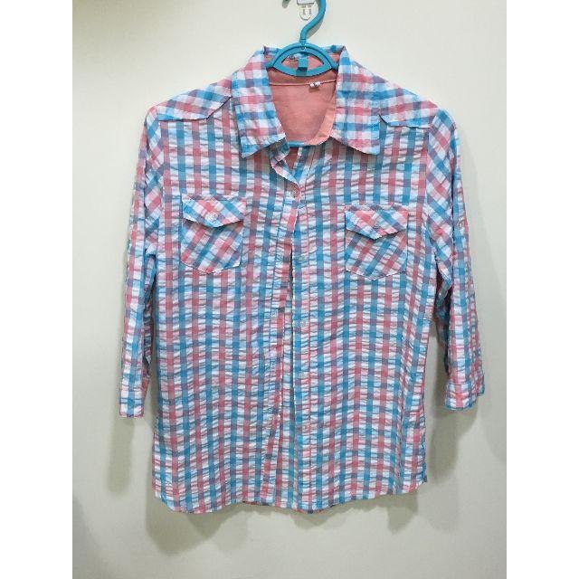 (二手) 彩色格子 七分袖薄襯衫上衣