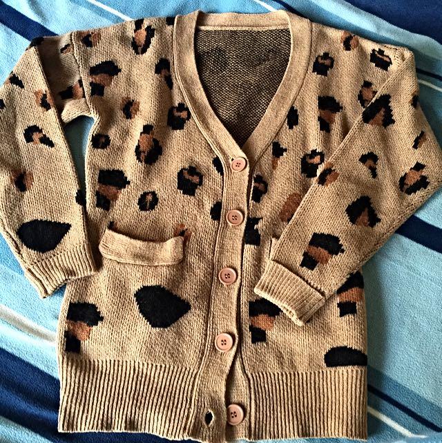 不退流行 豹紋 針織開襟外套