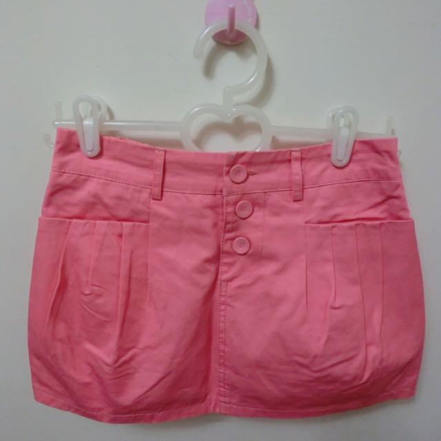全新 粉色 褲裙 有安全內裡