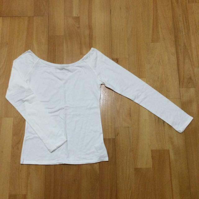 (特價!)(全新)PAZZO白色長袖上衣 (平口) #一百元上衣
