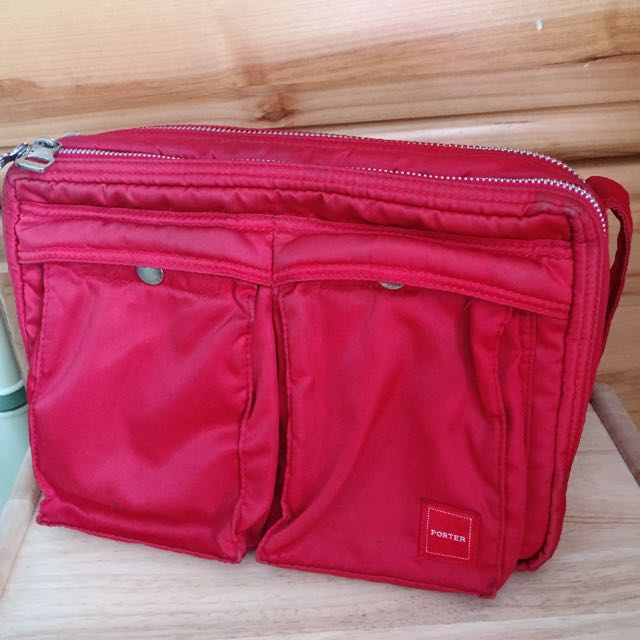 專櫃正品PORTER紅色斜背包 雙層包