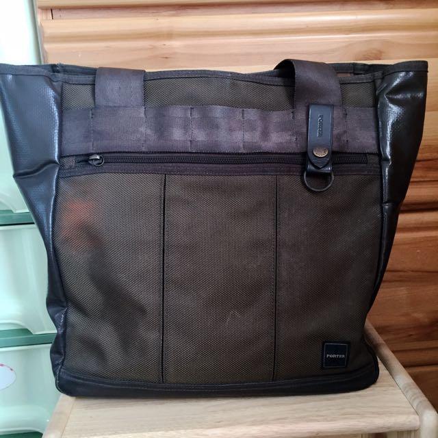 專櫃正品PORTER墨綠色肩背包 超大容量托特包