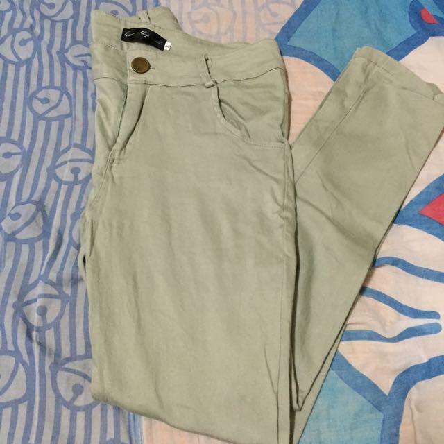 Queen Shop✨湖水綠彈性長褲👖
