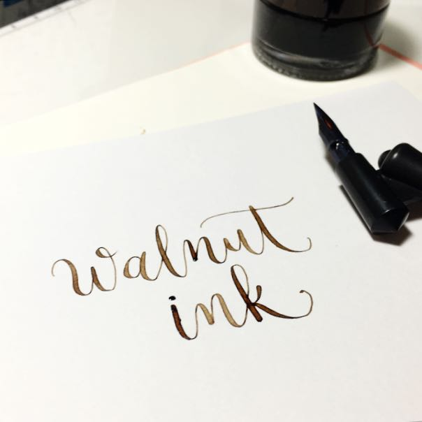 Walnut Ink Crystal + Calligraphy Ink Glass Bottle