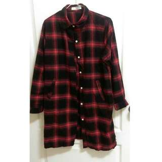 全新!長版紅黑格紋襯衫