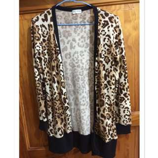 豹紋毛料外套