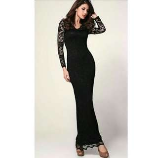 Long Dinner Evening Prom Dress For Rent - Black Elegant Classy