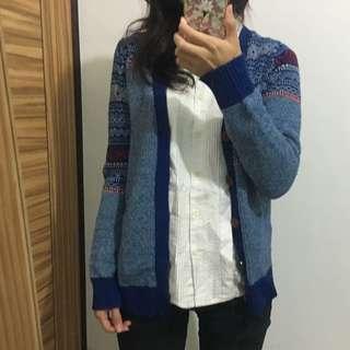 藍色幾何民族針織衫外套