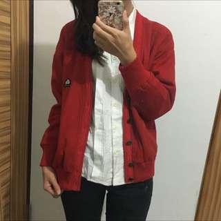 復古正紅色全羊毛棒球夾克外套
