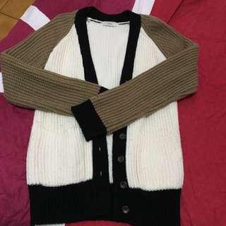 (SALE) Jouetie 撞色長版粗針毛衣外套