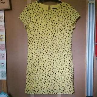 Yellow Palm Tree Patterned Silky Dress Size Small