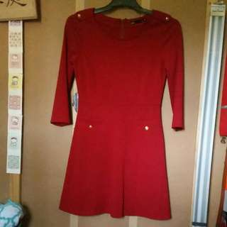 Red Dress With Gold Button Detailing Size XS