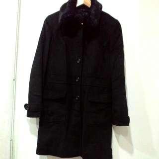 500元 MASTINA 毛領 可拆 上班族大衣 大衣 黑色大衣 高級質料 香港製 保存良好