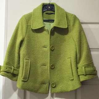 Theme 芥末綠七分袖毛霓外套