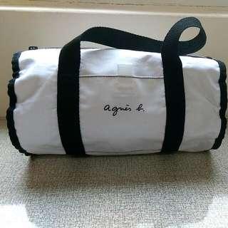 (保留待匯款)agnes  b 白色帆布圓筒包