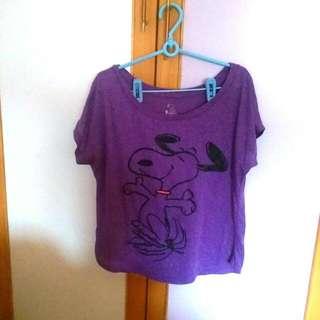正版snoopy t-Shirt 美國加州史奴比樂園購入 二手衣