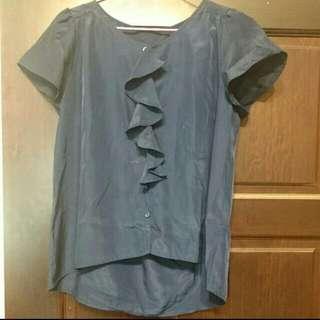 深藍荷葉雪紡上衣(含運)