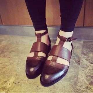 全新✨真皮-復古英倫風仿舊咖啡棕色T型繫帶尖頭鞋37