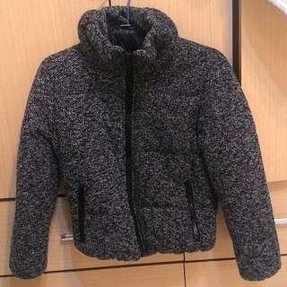 (近全新)混色毛呢縮袖襬厚鋪棉外套