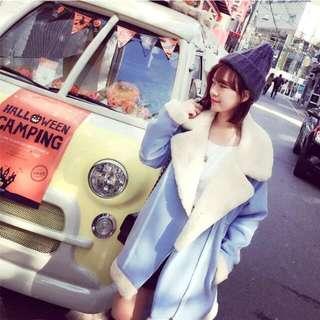 韓國韓版大V領翻領毛絨刷毛料西裝外套拼接撞色馬卡龍色天藍色水藍色顯白大衣加厚外套另有雙排釦扣毛呢