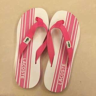 LACOSTE 粉紅色海灘夾腳拖鞋