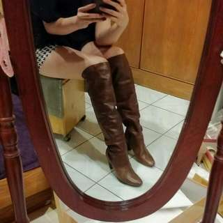 專櫃高級皮革膝上靴(咖啡色)