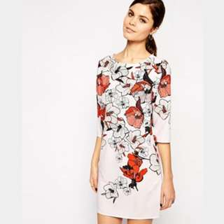 ae95b4ee9 BNWT ASOS Red Floral Tshirt Dress UK Size 14