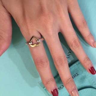 Tiffany 925純銀+18K黃K金 愛心雙色戒指 (美圍5.5)