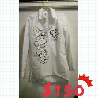 長版米奇白襯衫