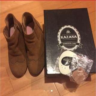舒適 冬季裸靴 短靴 深棕色 40號 Kazana