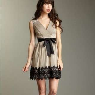 e84f095d1 Darling Taupe Dress Pleats And Black Lace Size M