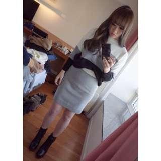 Samantha in Seoul 十月秋季首爾連線☆#25 三色針織上衣+針織裙set- 灰