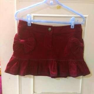 Knightsbridge 酒紅色絨布短裙