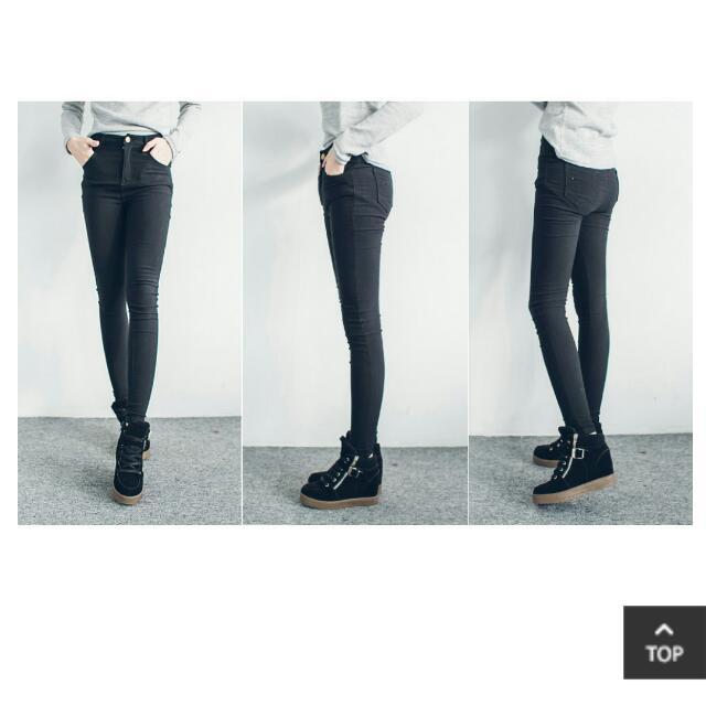 內刷毛3D彈力提臀牛仔褲(黑)