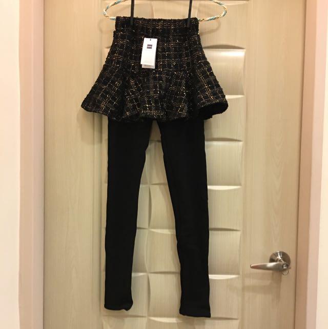 假兩件,加厚保暖魚尾裙內搭褲,全新