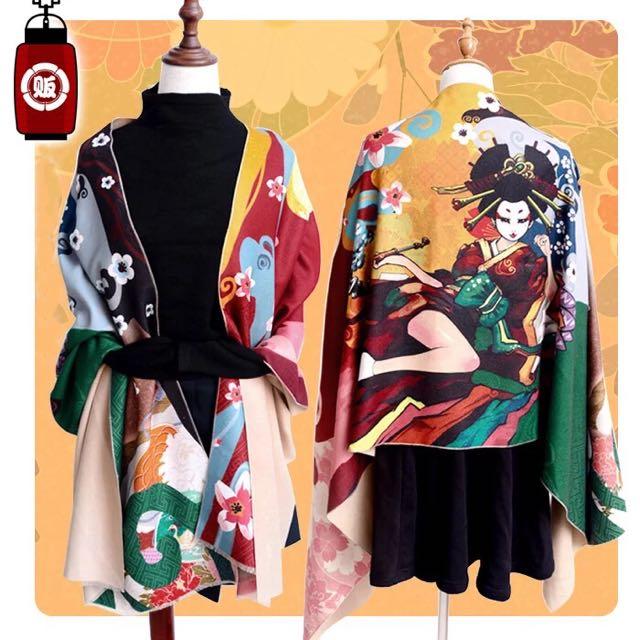 原創設計日本浮世繪花魁披肩圍巾