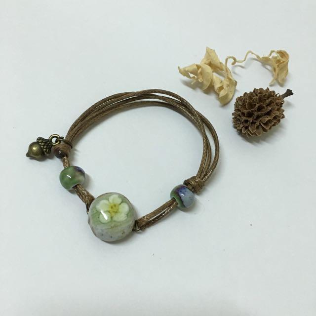陶瓷小花手做感手繩