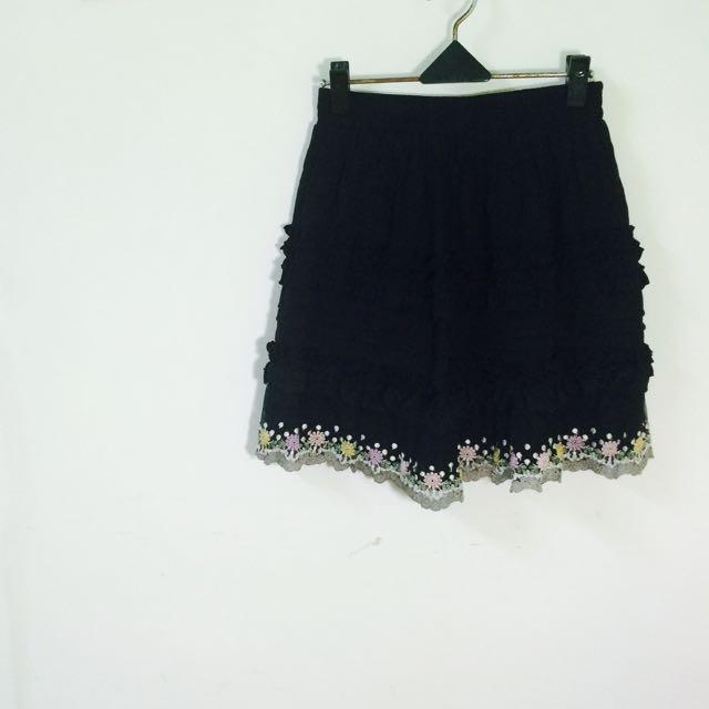 黑色花紋裙
